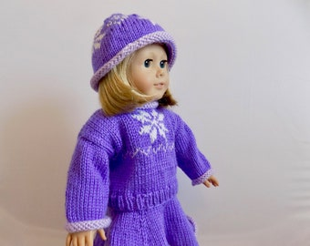 Doll Clothes, Ice Skating Doll Outfit, Winter Doll Outfit, Purple Doll Sweater, 18 Inch Doll Clothes