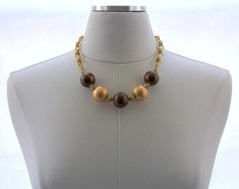 Swarovski Crystal Necklace, Chain Jewelry, Gold Necklace, Bronze Necklace, Metal Jewelry, Beaded Necklace, Handmade