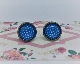 Azure Blue & White Minimal Handmade Vintage Boho Glass Stud Earrings. Jewellery Gift for Women, Girlfriend, Wife, Fiancee, Girl, Birthday.