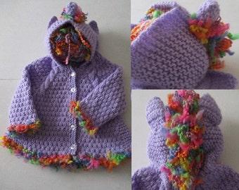 Newborn baby unicorn hoodie, handmade baby girl knit, rainbow purple unicorn, knitted jacket, baby present, baby shower gift, magical hoodie
