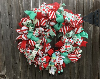 Christmas Snowman Wreath with Red and Aqua Ribbon