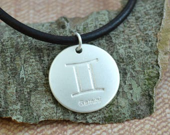 Leather Surfer Necklace With Ancient Zodiac GEMINI Distresed Cord