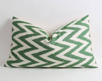 ikat pillow, silk ikat pillow cover, Green chevron zigzag silk ikat pillow, handwoven ikat, 16x26 uzbek ikat pillow