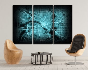 DALLAS Map 3 Canvas Panel Dallas Texas Night Lights Modul Map Oversized Horizontal Wall Art Map Modern Art Neon City Map NCM