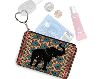 Elephant Small Zipper Pouch Coin Purse Keychain Key Fob Business Card Holder Purse Organizer Tribal Moroccan Kilim Persian Rug blue red RTS