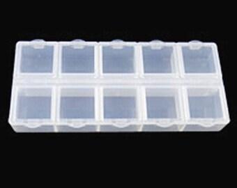 2pcs  Plastic Bead Container 10 Compartments-Q336