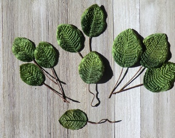 Green velvet leaves, wired stems, millinery, hat decoration, hat-making, floral display, collage, scrapbook, home decor, jewellery