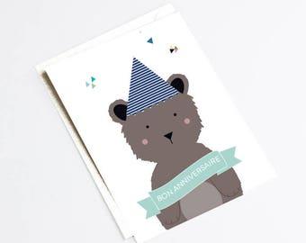 "Folded greeting card ""HAPPY BIRTHDAY BEAR""  - bear happy birthday card"
