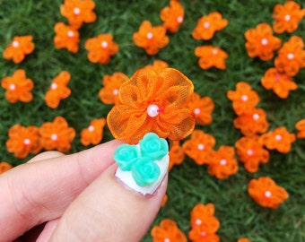 Orange Chiffon Beaded Flowers (25mm each- 25 pieces), Floral Applique, Sew on Flower, Fabric Craft Flowers, Pearl Center, Orange Embellish