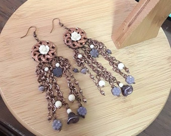 Long purple earrings, purple and off white czech beads and copper chain and hook earrings
