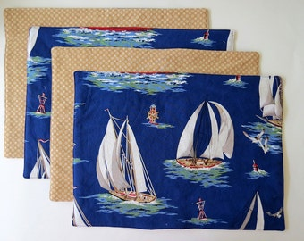 Pair of Reversible Placemats: Nautical Sailboats on Water with Tan Dots