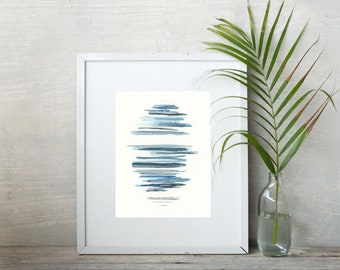 ORIGINAL abstract gouache painting, 8x10 inch blue waterscape with stripes, modern minimalist line art, gallery wall decor home and office
