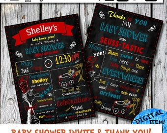 Dr. Seuss Baby Shower Invite and Thank You Card Dr. Seuss Inspired Chalkboard Baby Shower Invitation evite