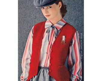 Crochet Vest Pattern Vintage Shaped Hem Vest Crochet Pattern Womens Waistcoat Button Front PDF Instant Download - C171