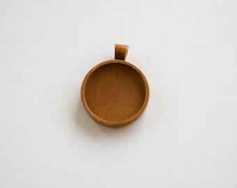 Pendant setting Fine finished artisanal hardwood - Cherry - 30 mm cavity - Organic bail - (Z30-C)