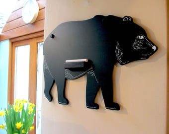 Black Bear Chalkboard. A lovely animal chalkboard, perfect for your kitchen or a kids bedroom/playroom.