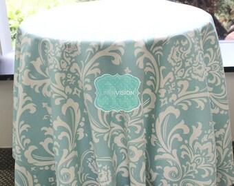 Tablecloth - Premier Prints - OZBORNE Damask  - Village Blue Natural - Choose Your Size - Table Linen Wedding Home Decor Dining Kitchen
