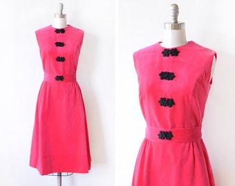 60s pink velvet dress, vintage 1960s dress, hot pink + black cocktail dress, mod wiggle dress, dress with pockets, medium m