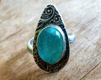 Floral Tapestry Ring with Fluorite - Adjustable