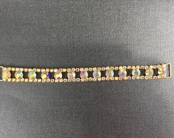 AB Crystal 13 gold toned large rhinestone connector for bikini or craft