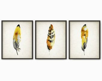 Yellow Feathers Print Set Of 3 - Watercolor Feathers Wall Art Print - Modern Home Decor - Bird Feather Poster - Watercolour Painting Art