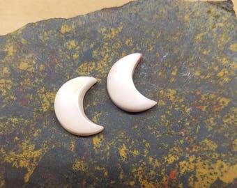 Medium White Shell Crescent Moon Cabochon Pair/ backed