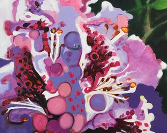 Limited Edition Fine Art Print of Original Oil Painting by L Donaghey - Purple Rhododendron in the Abstract Giclee Print