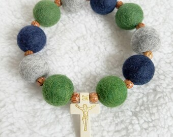Forest and Navy Felt Ball Decade Rosary With Wood Beads