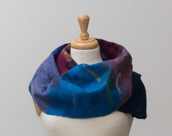 Sale 40% Off Felted Scarf, Nuno felt, Blue, Maroon, turquoise, lavender, Green,  Merino wool,felt, Soft and warm, Light weight,