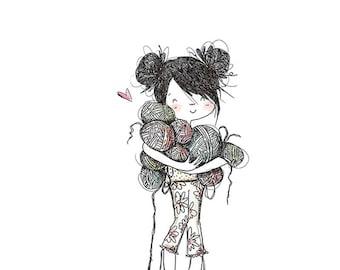 Yarn Girl - 8 x 10 ART PRINT