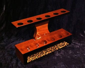 Super Nice Vintage 1950's Walnut 6 Pipe Stand