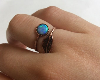 Gemstone ring, Thin ring, leaf ring, Bronze ring, stone ring, opal ring, stacking ring, delicate bronze ring - Gone with the wind RC2062-1