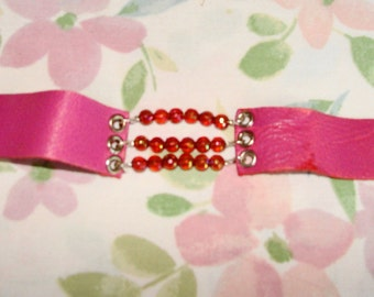 Vintage 60s Pink Slender Leather and Bead Snap on Cuff Bracelet
