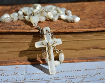 Antique Rosary with Mother of Pearl Beads, Catholic Collectibles, Jewelry Supplies