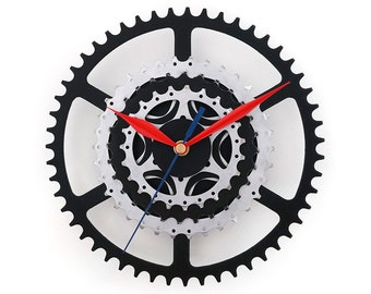 Wall Clock, Bike Clock, Bicycle Clock, Bike Accessories, Cyclist Gift, Recycled Bike Parts, Industrial Clock, Metal Gear Clock, Art Decor