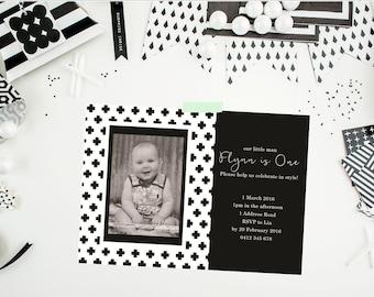 Monochrome Invitation. Scandinavian. Birthday Invitation. Monochrome Birthday Invitation. Black and White. Boy Invitation. Printable