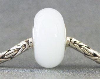 White Lampwork Glass Euro Charm Bead Snow Moonstone