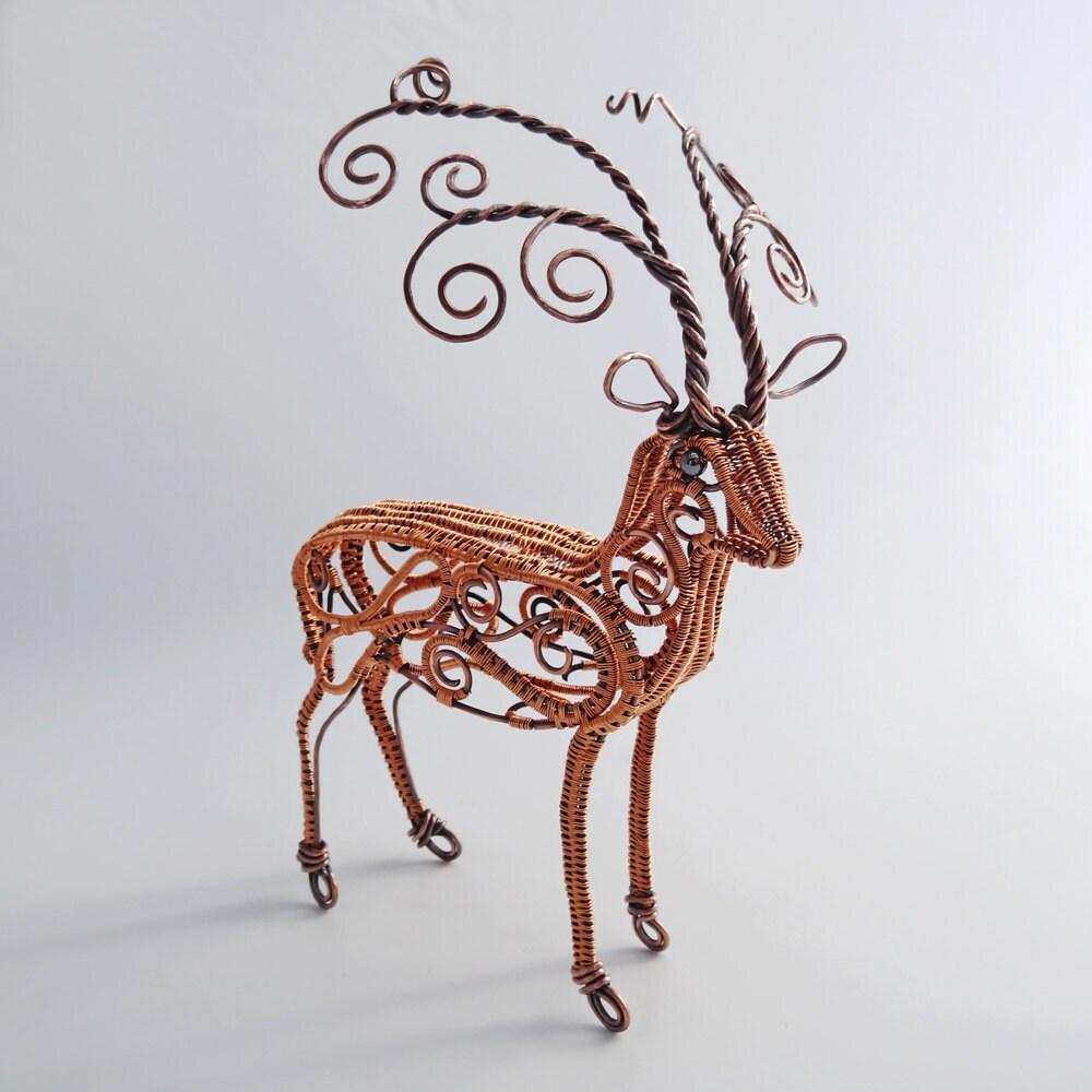 Copper Deer Wire Sculpture Reindeer Fine Art Tabletop Animal