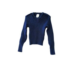 Wool V Neck / Elbow Patches / Military / Navy Blue / Epillettes / Stretchy / Ribbed / Slighty Cropped / Warm / Thick