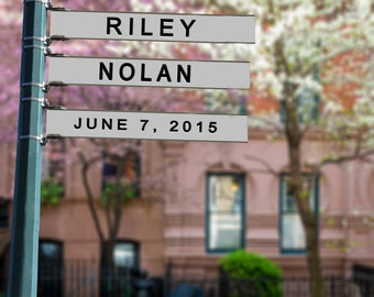 Personalized Wedding Gift Names Date Street Sign Photograph Urban City Anniversary Valentines Day Invitation pp70