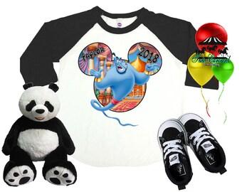 Genie Disney Shirt, Aladdin Shirt, Personalized Raglan Shirt, Toddler Youth Adult  (mc569)