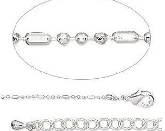 Silver Plated Fancy Ball Dash Chain 18in