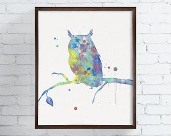 Watercolor Owl Painting, Owl Art Print, Woodland Animals, Woodland Nursery Decor, Forest Animals, Kids Room Decor, Watercolor Animal Nursery
