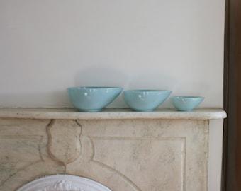 Vintage Fire King Swedish Modern Bowl Set of Three, Tear Drop, Turquoise Blue, Azurite Mixing Bowl