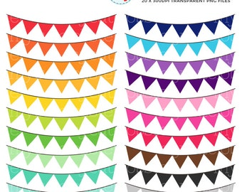 Rainbow Bunting Clipart Set - clip art set of rainbow bunting, bunting, plain bunting - personal use, small commercial use, instant download