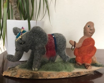 Buddha with his elephant, soft sculpture , wool, needle felted animal . Spiritual, Buddhism, SamBee