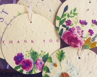Yellow Wildflower Seeded Gift Tags - Happy Birthday, Thank You, Best Wishes, Blank Floral