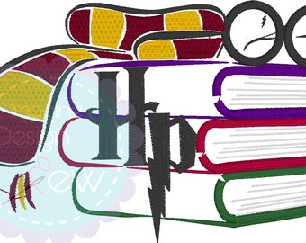 Magical Books Inspired silhouette sketch machine embroidery design Instant Download 5x7 6x10