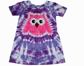 Girls Owl Dress in Purples with a Hot Pink Tie Dye Owl-Girls Owl Dress-Girls Tie Dye Dress