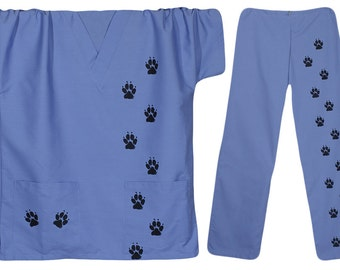 Scrub tunic top and scrub pants with dog paw prints,dog scrubs,vet tech